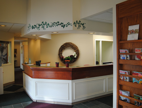 Our reception desk where you will be greeted by our friendly staff