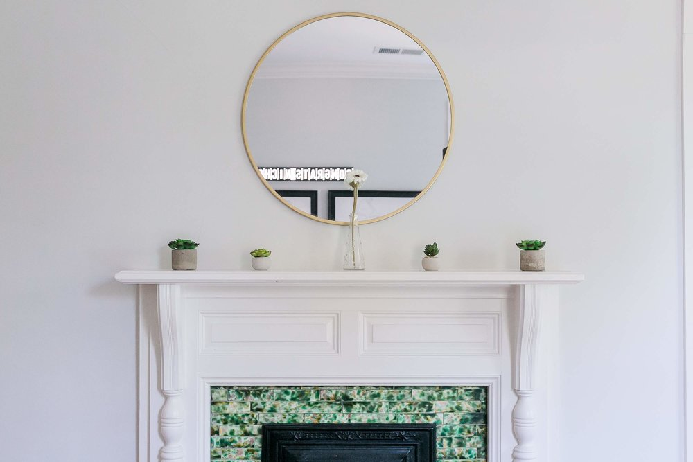 One of eight fireplaces. Each unique in design.