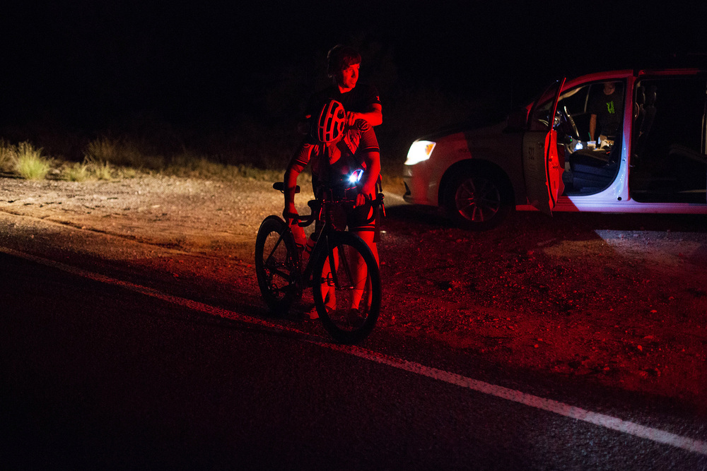 The night brings on its own challenges as the monotony of RAAM really tightens its grip on the racer. John Gadbois, our team sensei and spiritual guide (plus crack mechanic, driver, and nutritionist) was always kind enough to offer Matt relief with a leg or back rub to keep him relaxed and as comfortable as possible.