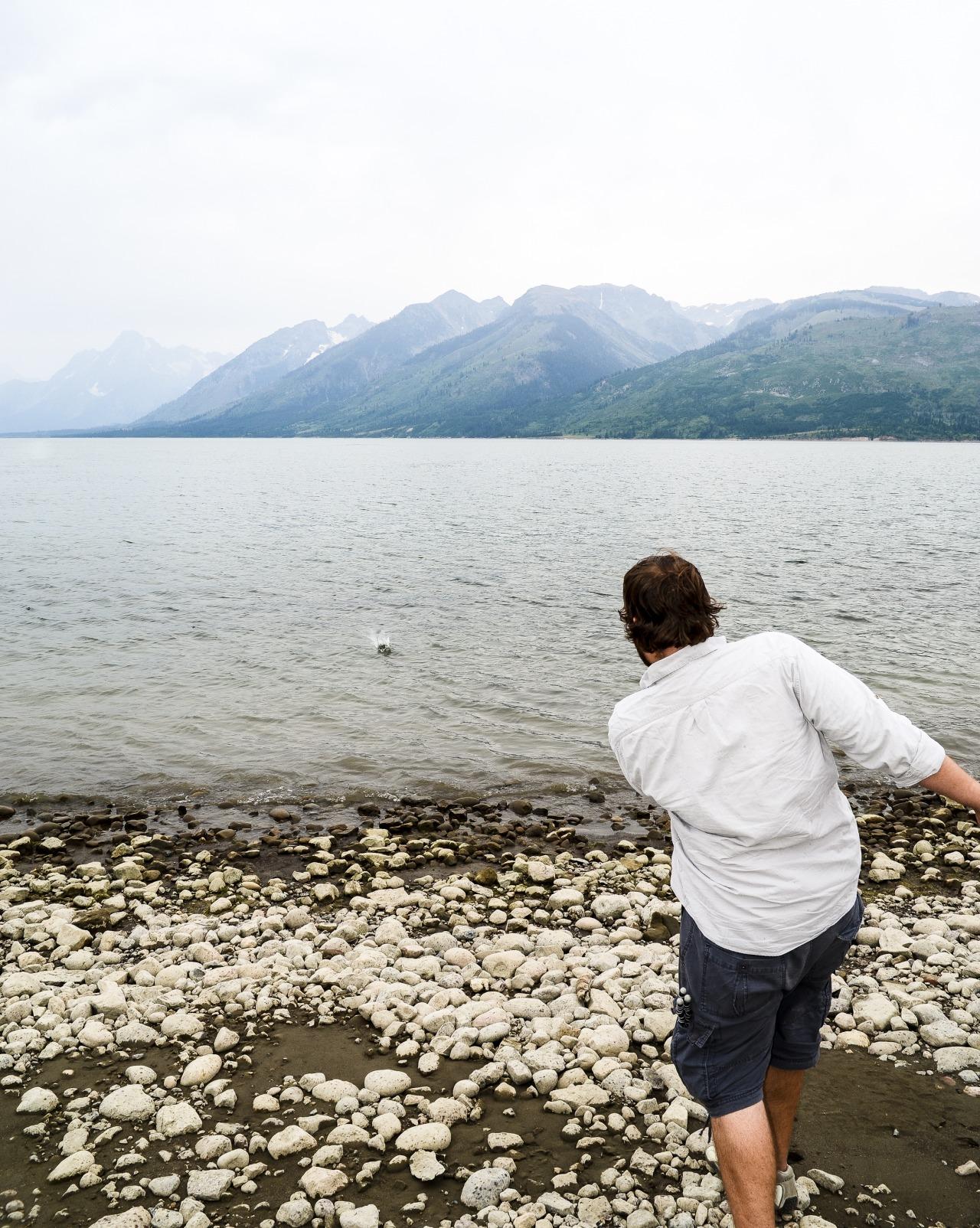 Roger skipping stones