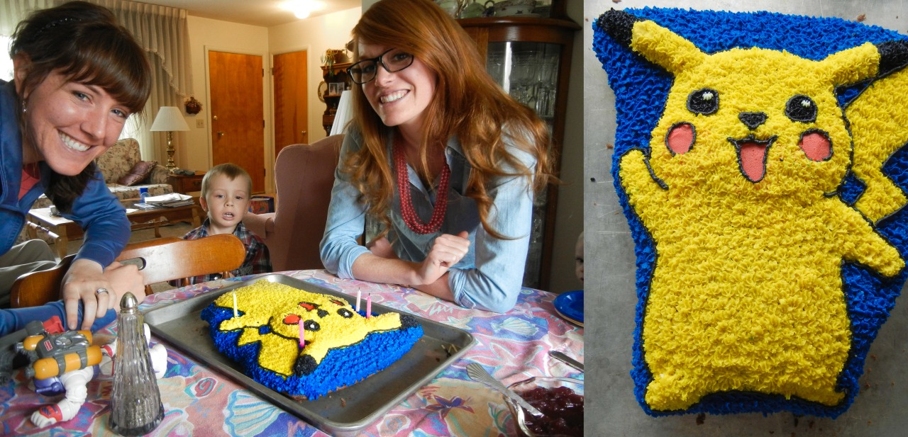 Birthday ladies!    Pikachu cake courtesy of the best mom ever.