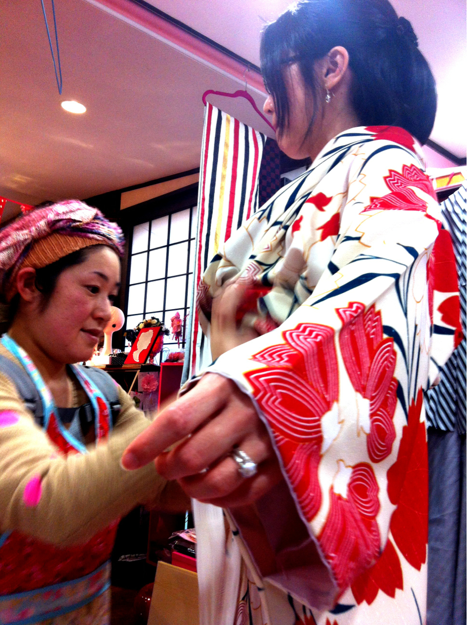 Went to the kimono shop to try some on just for fun.