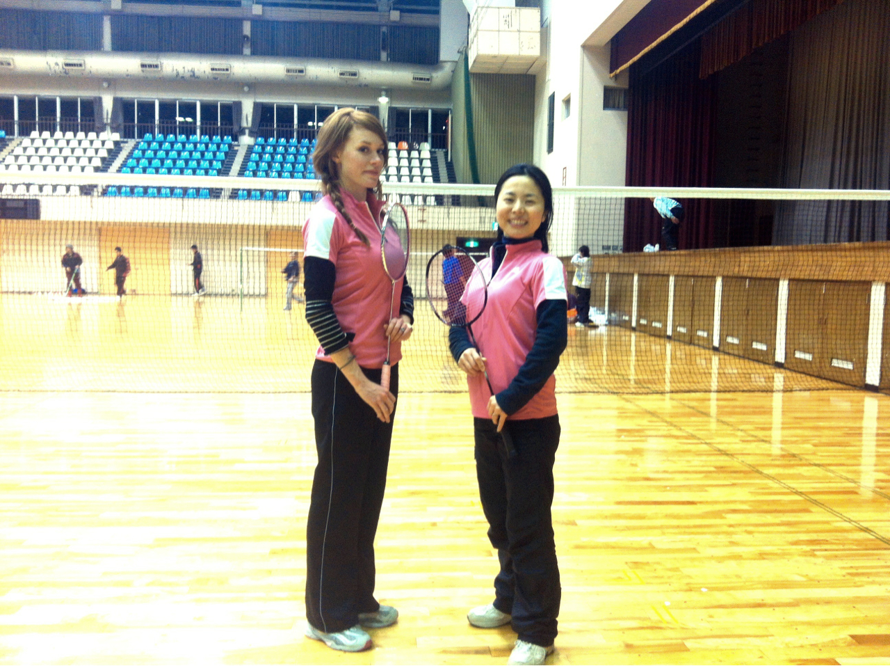Our new hobby has grown quite serious. Badminton. It's business time.