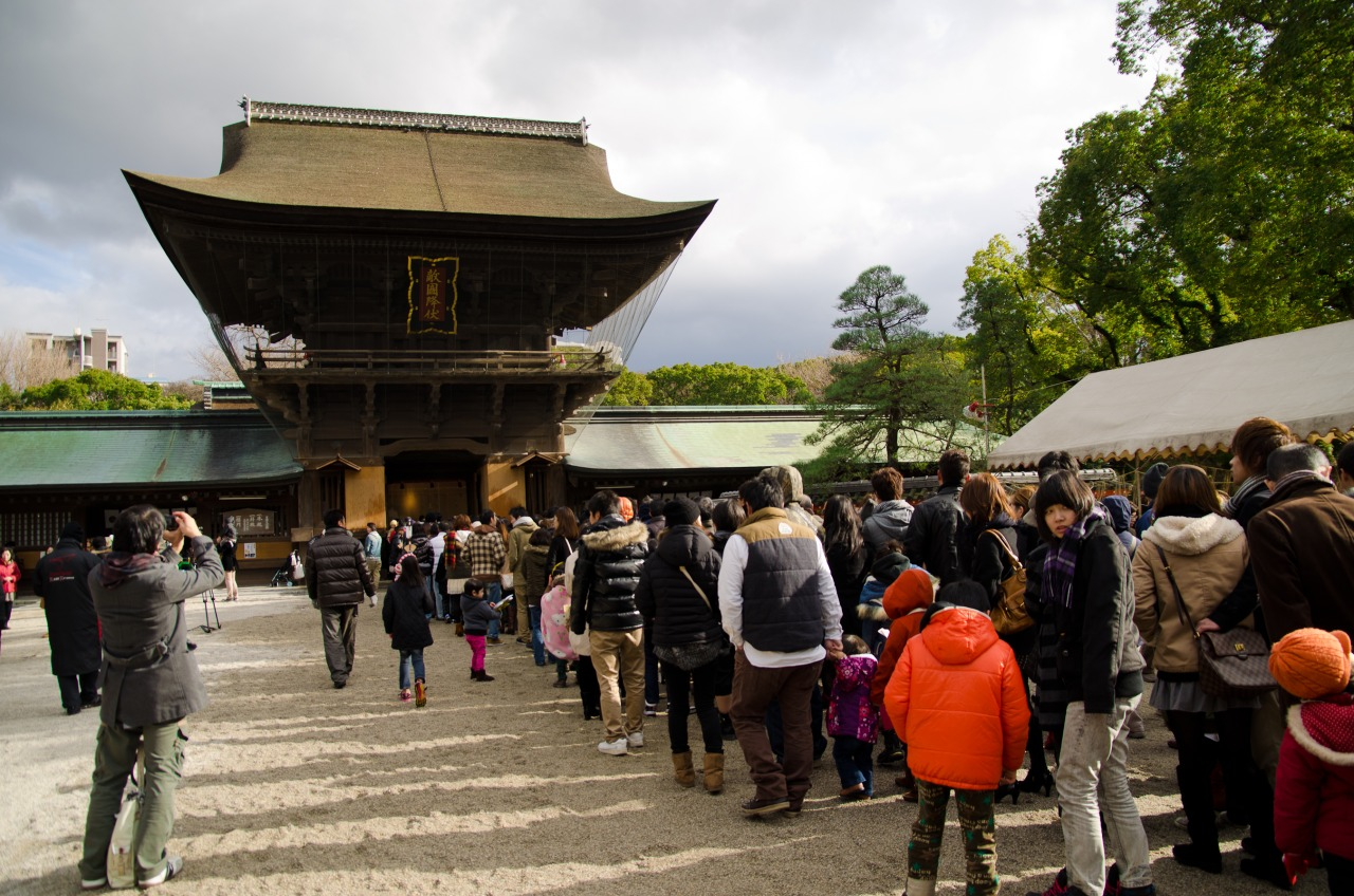 The line to get into the Hakozaki shrine to pray for the New Year…