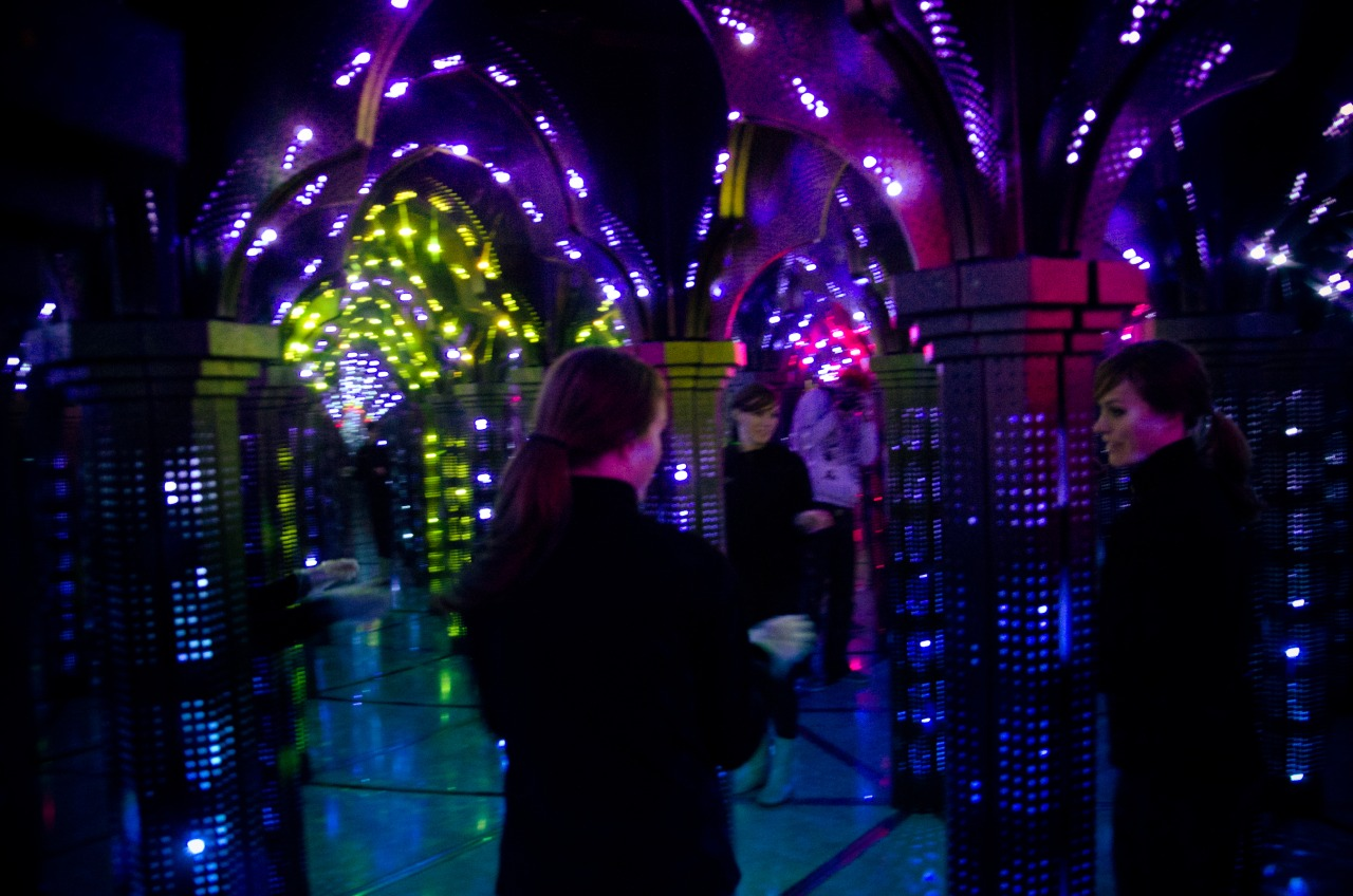 We went to Lotte World, a big amusement park inside of a shopping mall. Here we are in the Lotte World mirror maze. It was very trippy.