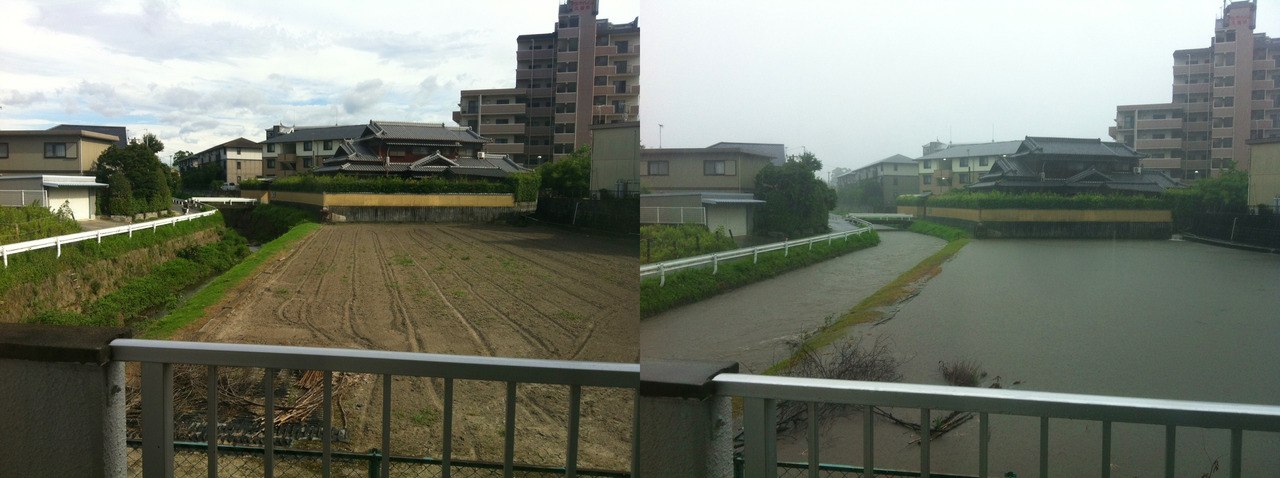 Before and After Rainy Season.   Rainy season this year seemed to hit Fukuoka a little harder than usual. There were numerous incidents of flooding and mudslides, and several areas even needed to be evacuated. Fortunately, the torrential rainfalls didn't get us too badly. But I snapped this photo of our backyard.