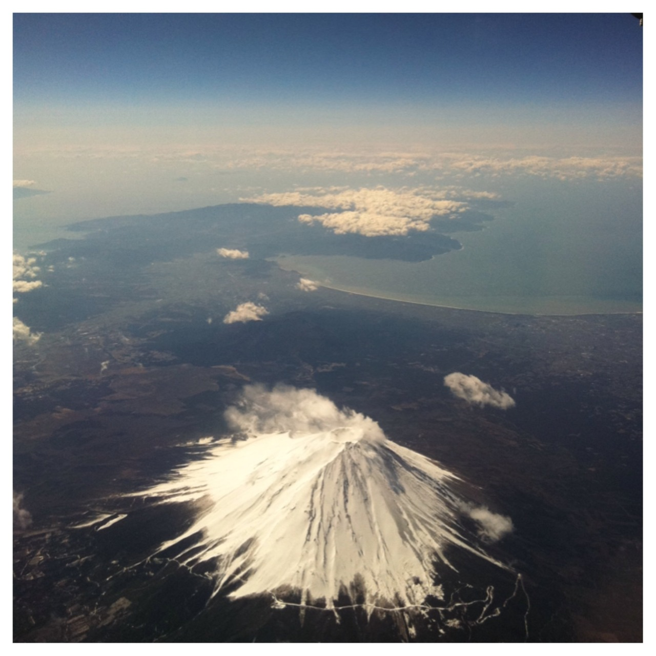 Mt. Fuji from our airplane! Tokyo here we come!