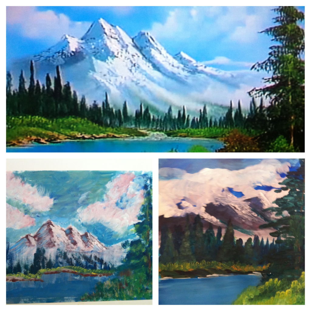 Bob Ross Paint-A-Long night!  Bob on top, Tyler on the left, Sam on the right