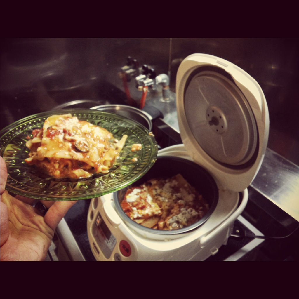 We just made rice cooker lasagna!!!  Feta, Colby jack, Mozzarella, and Parmasean cheese combo!