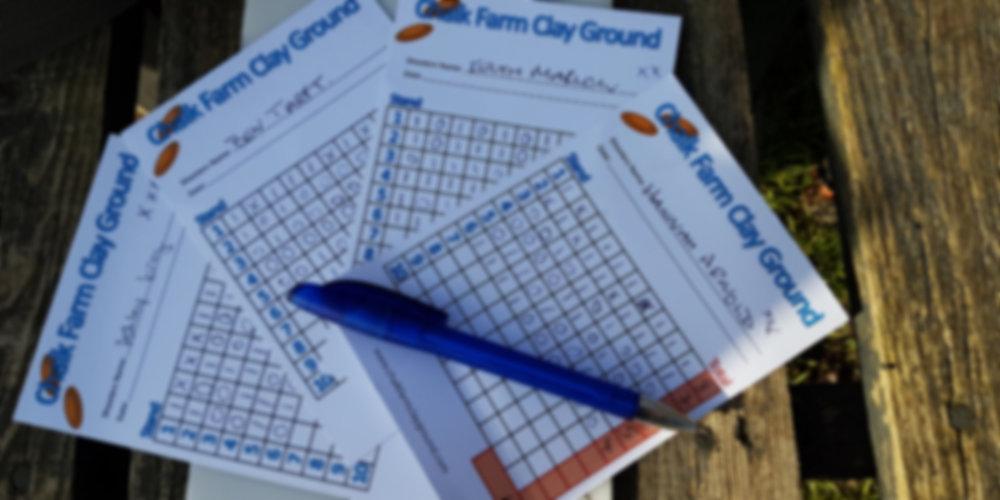 Clay shoot score cards from Chalk Farm - photo by Stella Gooch
