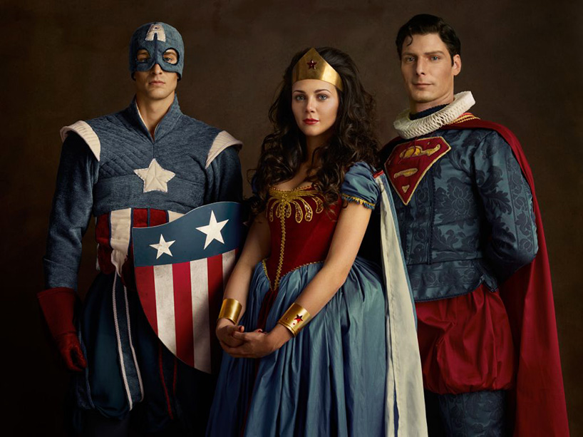 Captain America, Wonder Woman and Superman stand beside each other