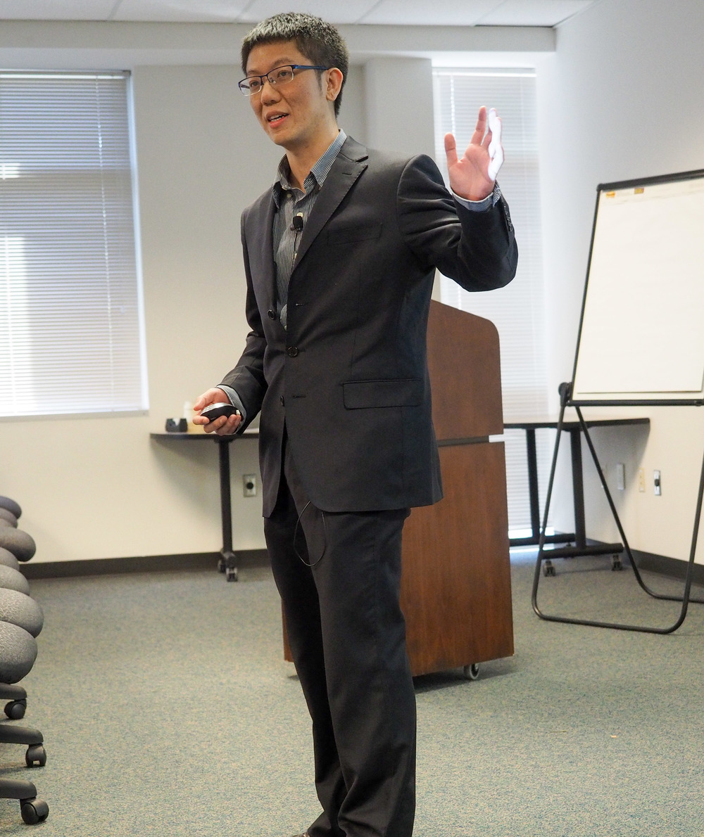 Hao Cai (UNC), winner of the travel award, shares his research about cation-selective transporters.