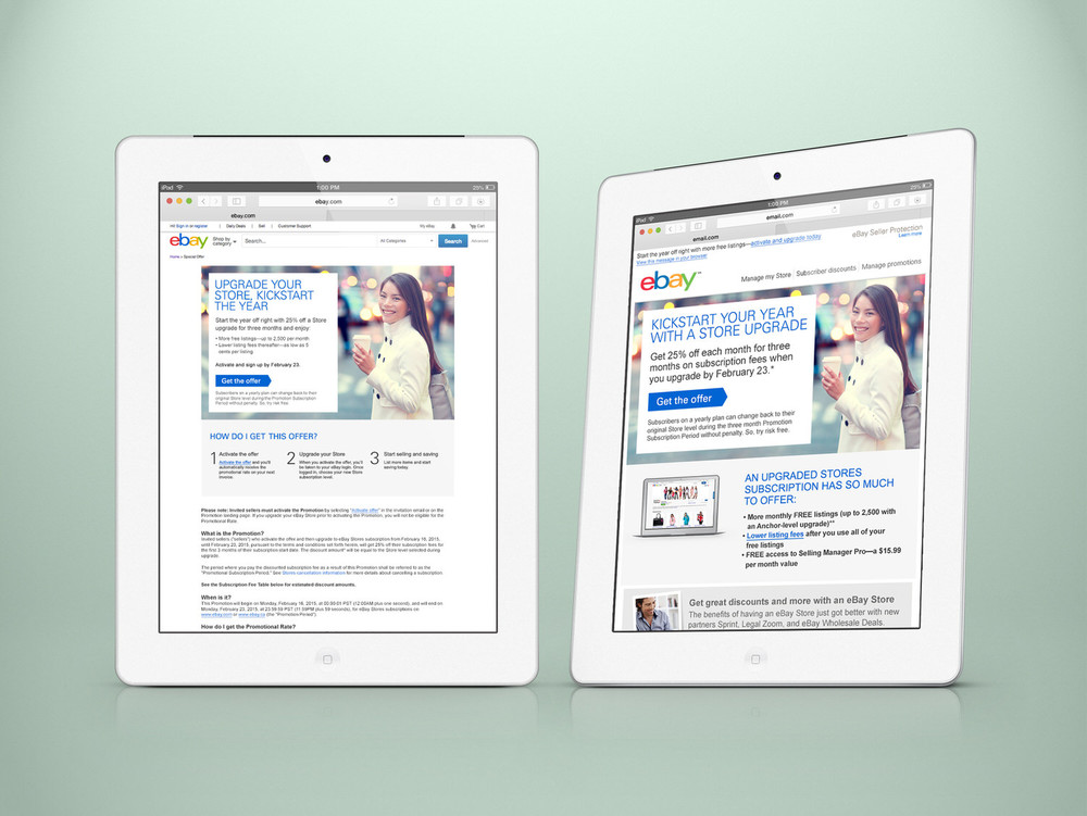 eBay B2B email/landing page campaign