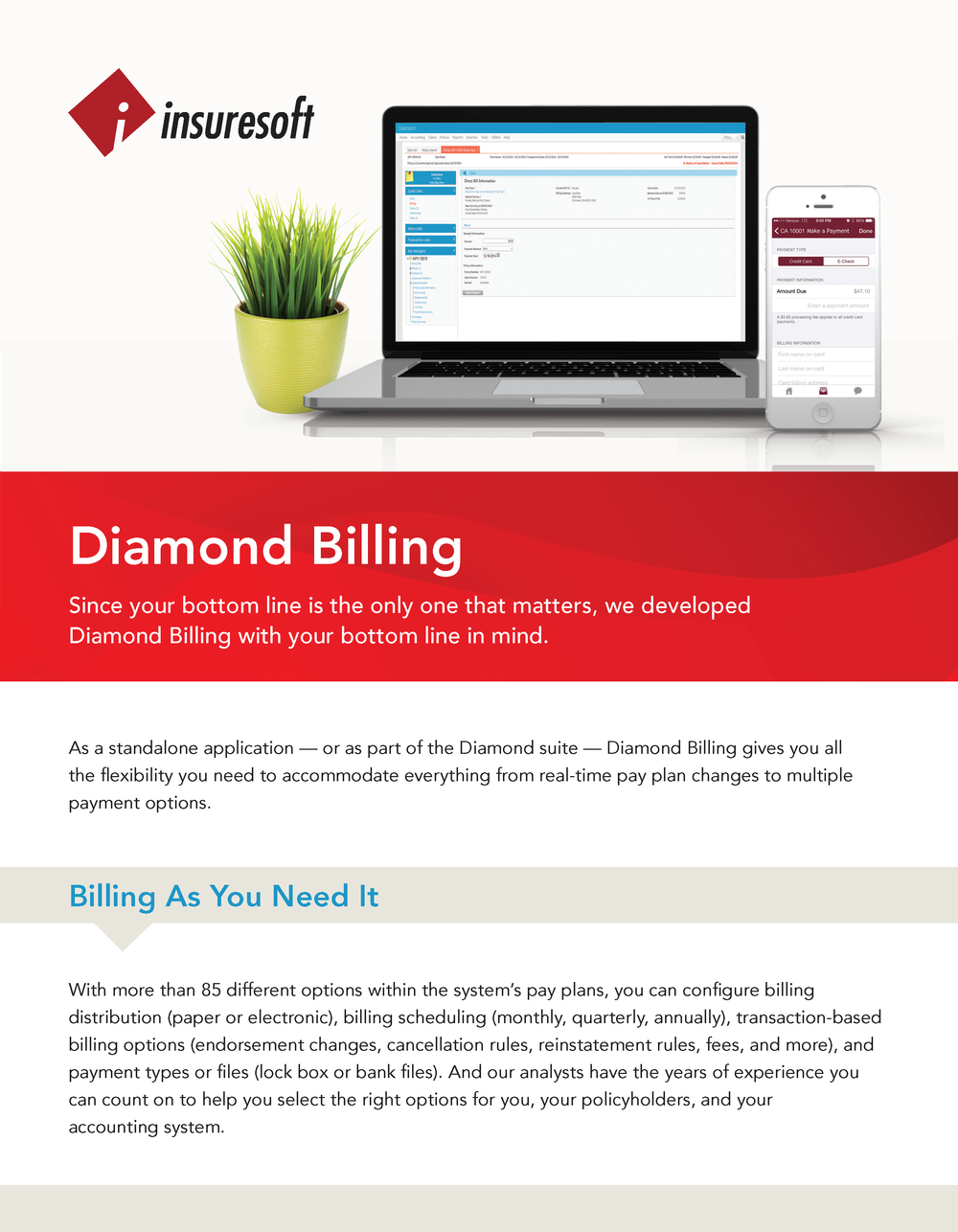 Diamond Billing gives you all the flexibility you need from real-time pay plan changes to multiple payment options.  Click here for the Diamond Billing Administration Datasheet.