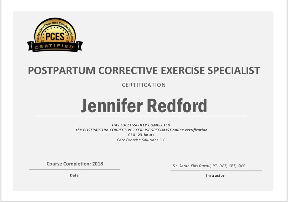 Post Partum Corrective Exercise Specialist