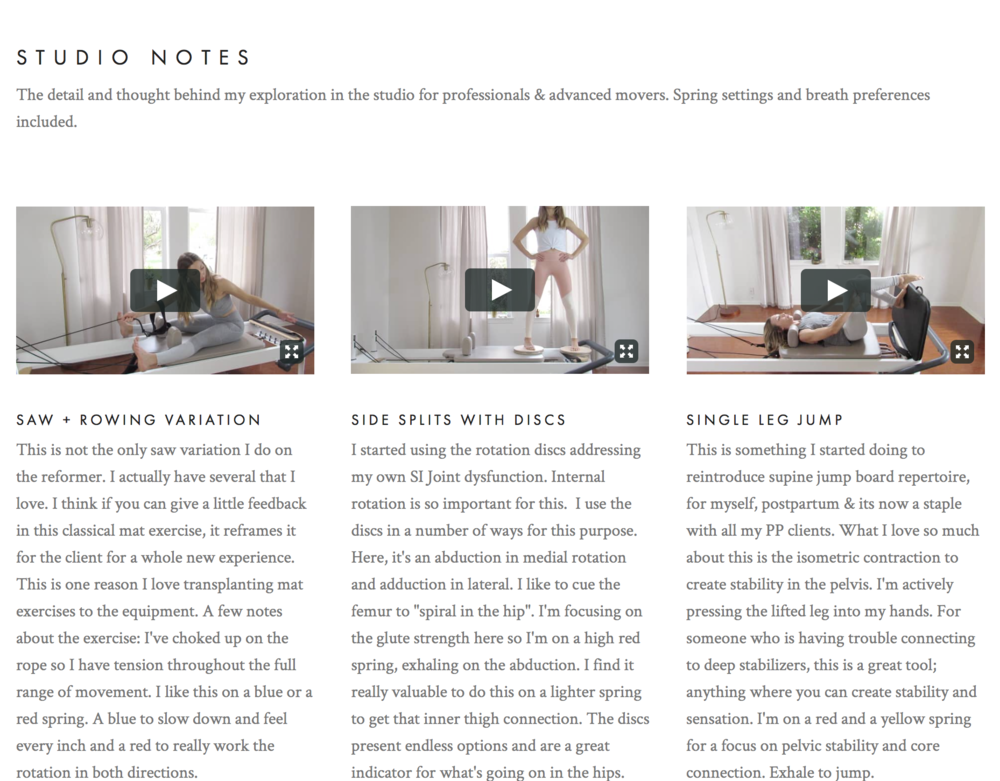 Studio Notes Jenny Redford Pilates