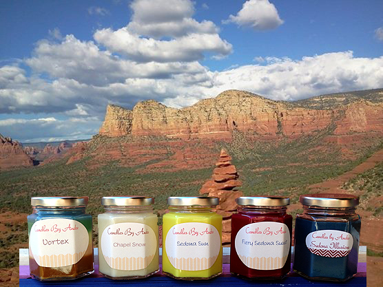 Sedona Candle - Soy Candles by J. Andre. Sedona Craft. Popular scents include: Chapel Snow, Fiery Sedona Sunset, Sedona Illusions, Sedona Sun, and the Five-Scent Vortex Candle.
