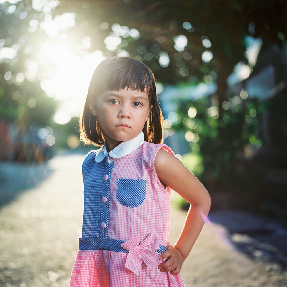 A serious girl, shot with a Hasselblad 500 c/m on Kodak Ektar 100.