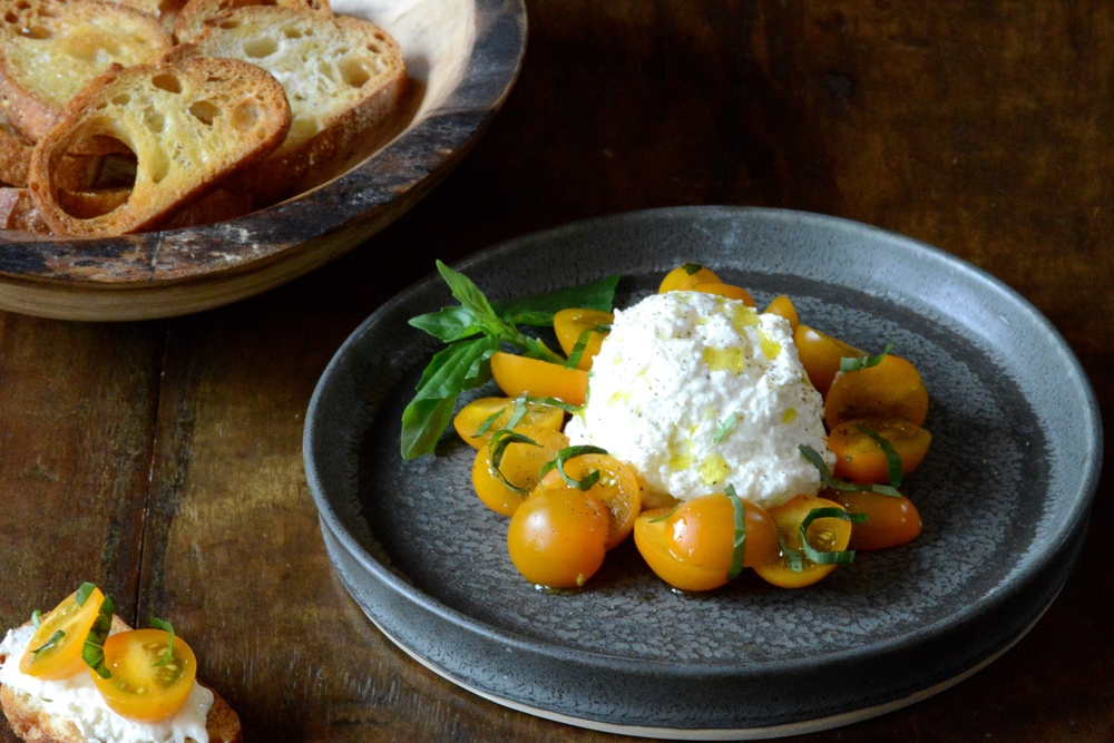 Sun Gold Tomatoes with Burrata, Olive Oil & Basil