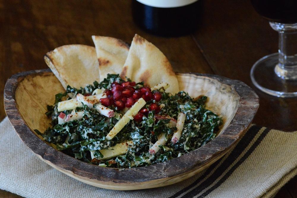 Kale Salad with Apple, Almond & Tahini-Yogurt Dressing
