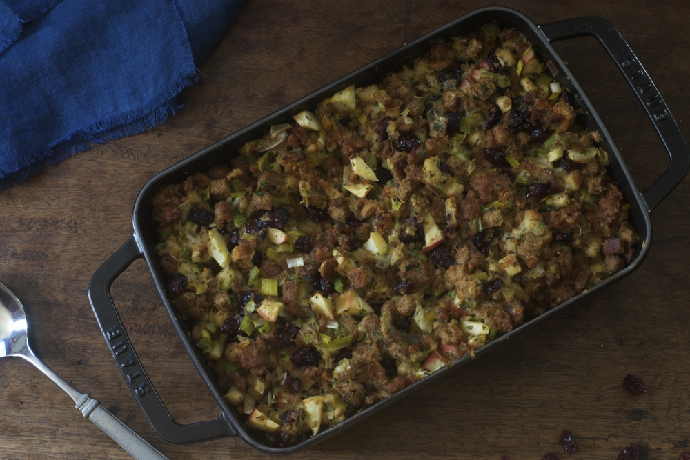 Crusty Leek & Sausage Dressing with Apples & Herbs
