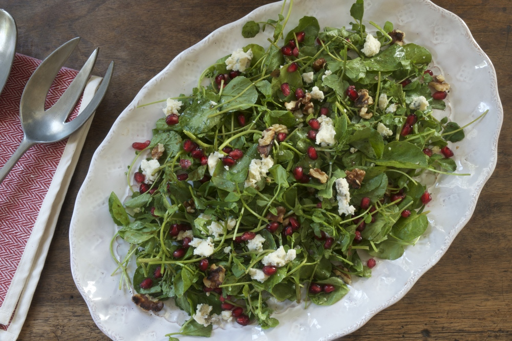 Watercress, Point Reyes Blue & Walnut Salad with Pomegranate Molasses Dressing