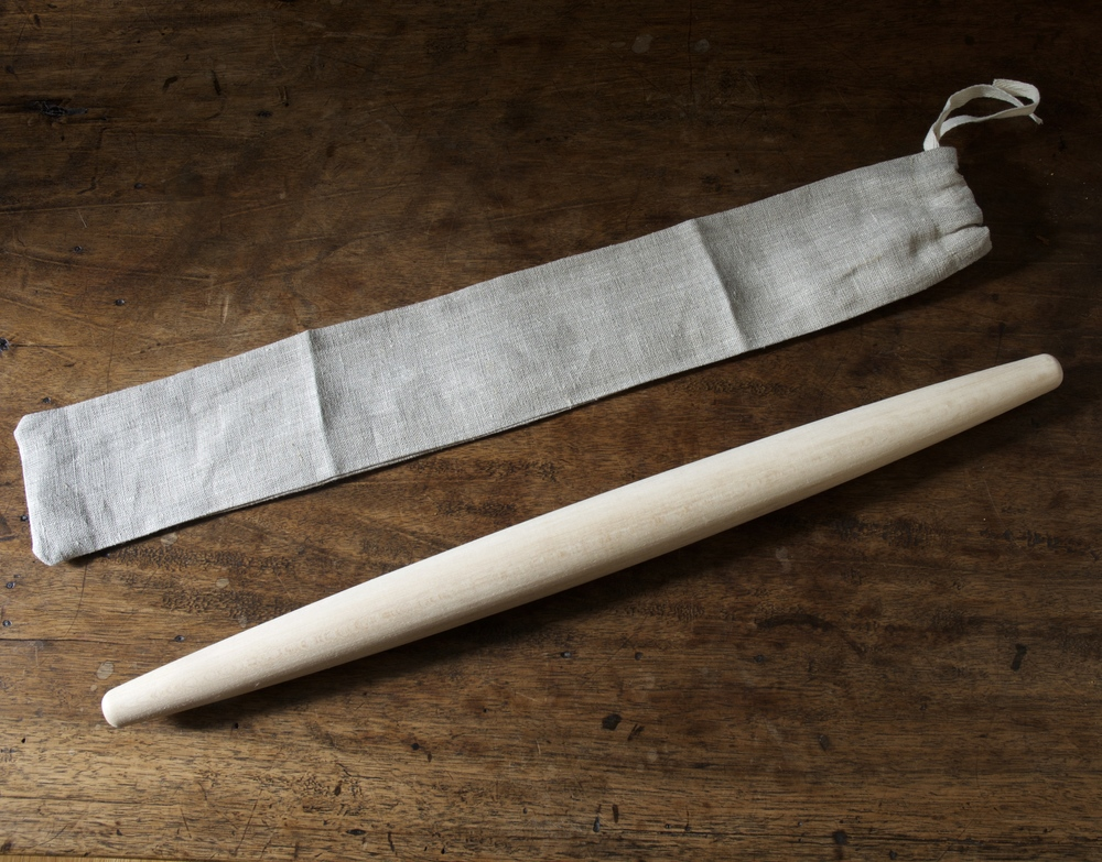 Beechwood French Rolling Pin in Linen Bag-$24