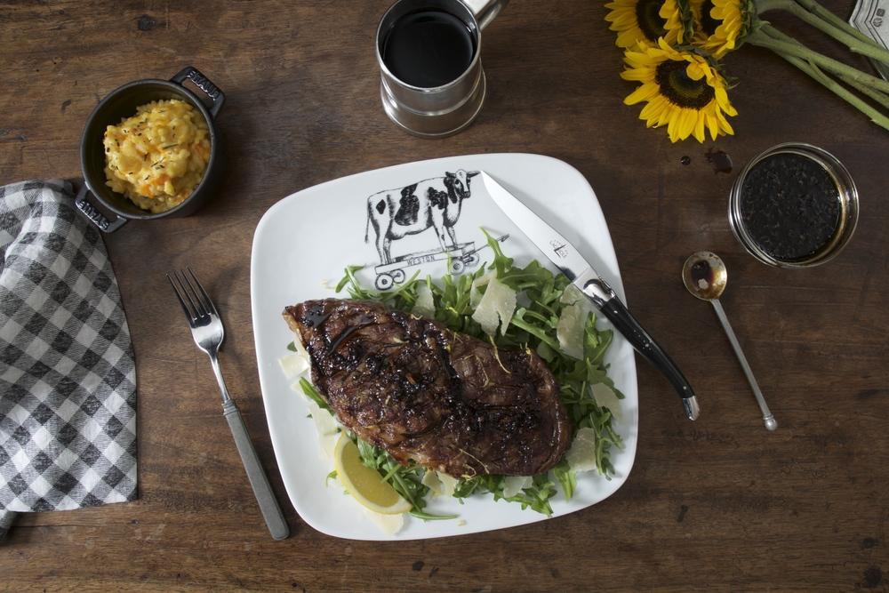 Tuscan Steak with Parmesan Butter, Vincotto & Arugula