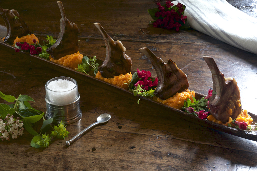 Grilled Lamb Lollipops with Orange Zest, Thyme & Sweet Potatoes