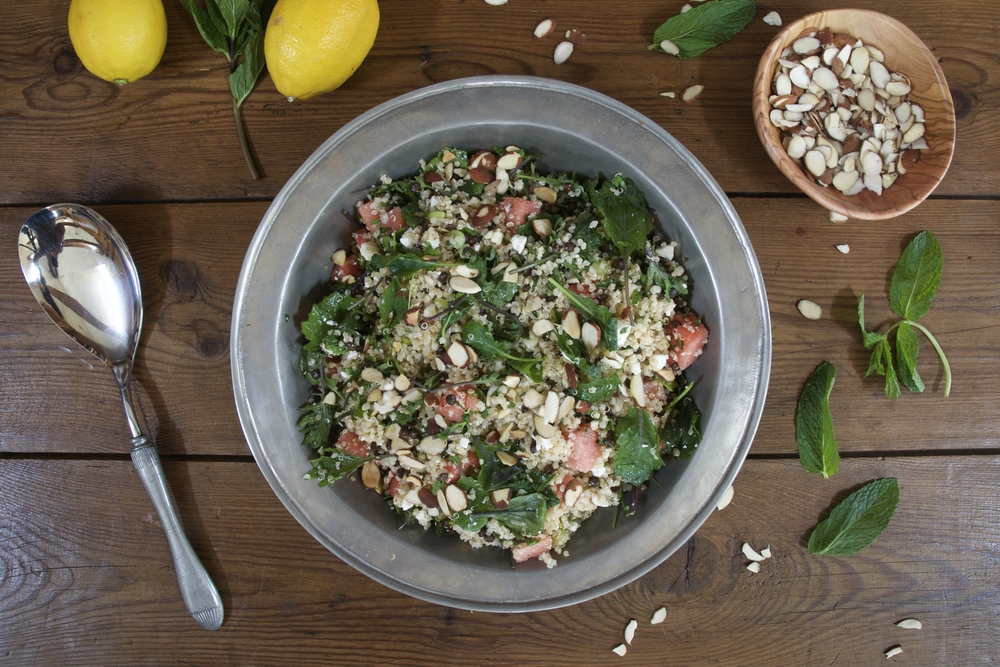 Quinoa, Watermelon, Kale & Feta Salad