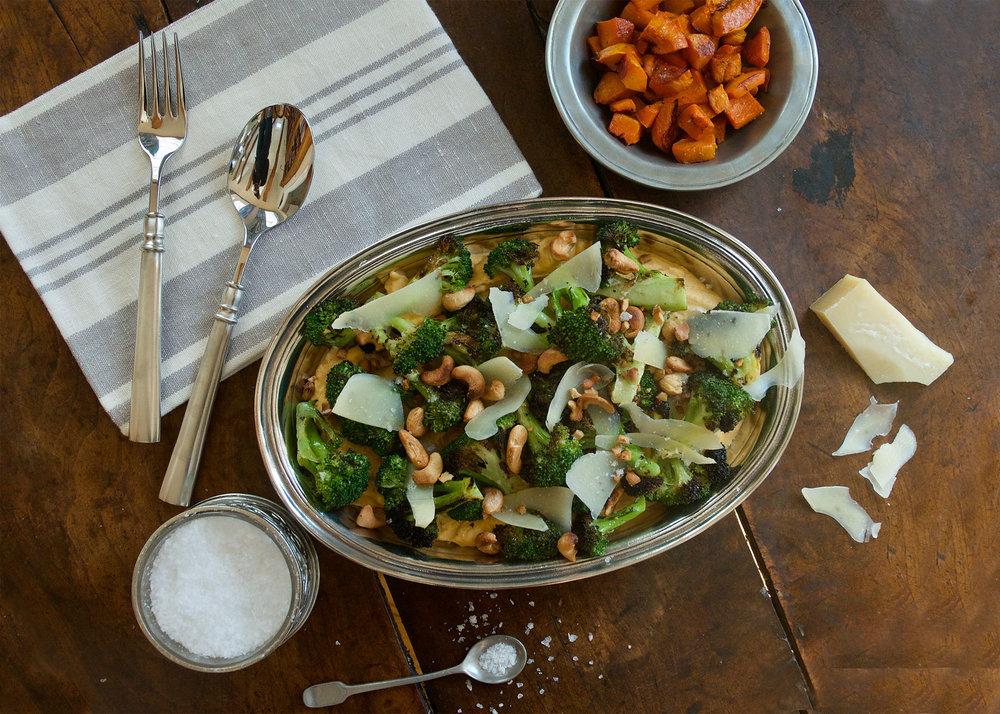 Butternut Squash Hummus with Charred Broccoli & Cashews