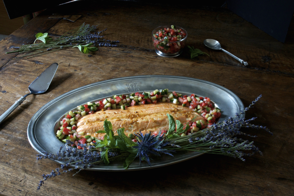 Summer Salmon with Strawberry, Mint & Cucumber Relish