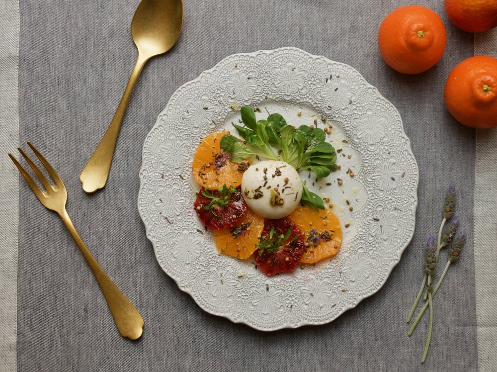 Burrata with Blood Oranges & Lavender Oil