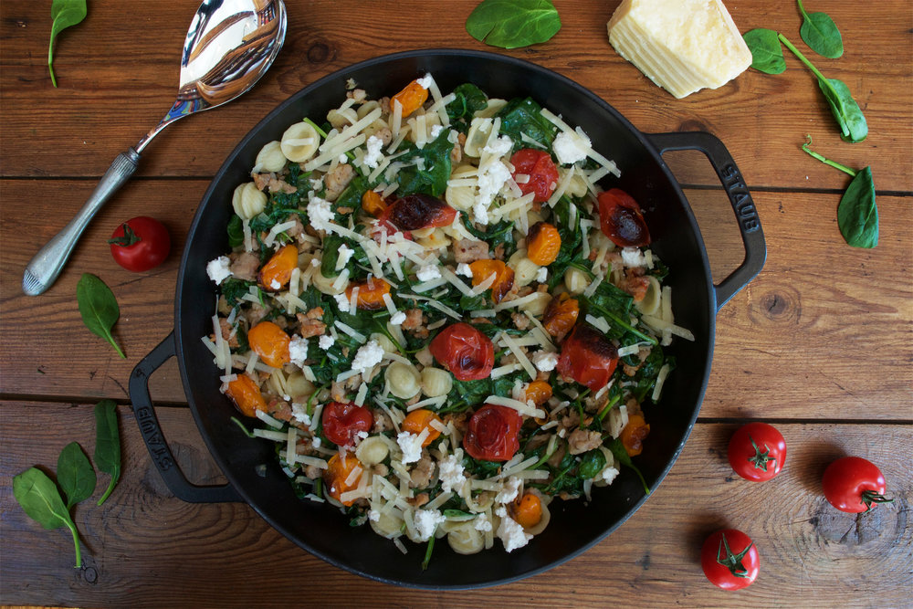 Orecchiette with Chicken Sausage, Spinach & Roasted Tomatoes