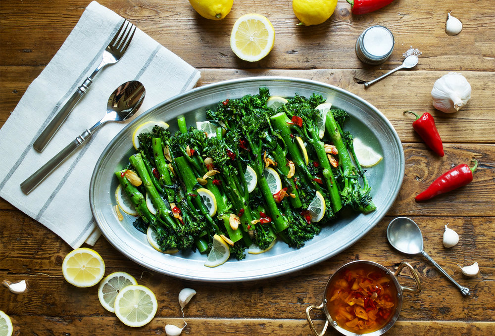 Ottolenghi's Grilled Broccoli with Chile & Garlic