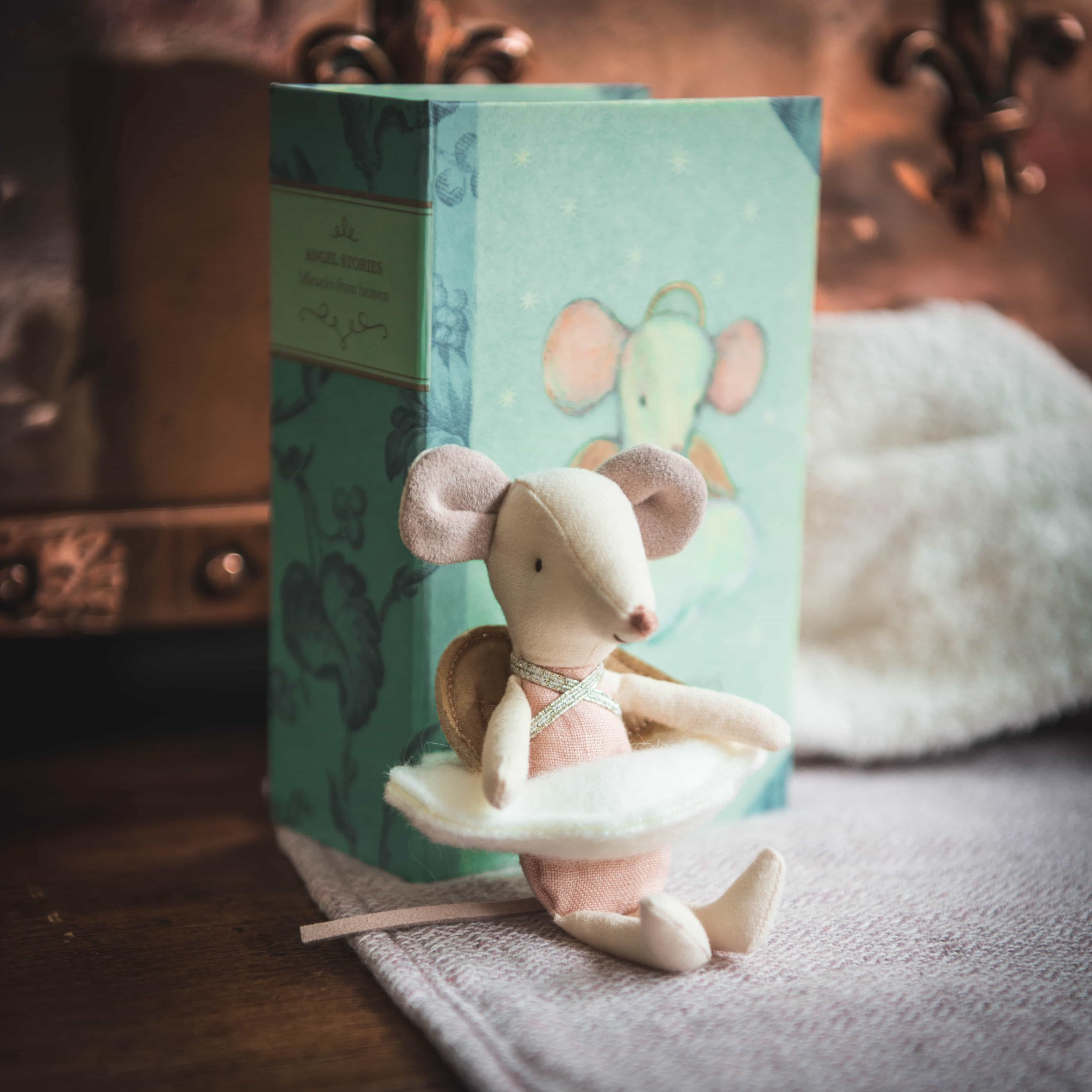Maileg Angel Mouse in a Book
