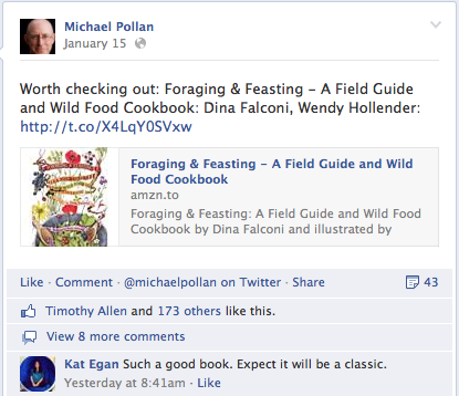 Michael Pollan suggests Foraging & Feasting on Twitter.