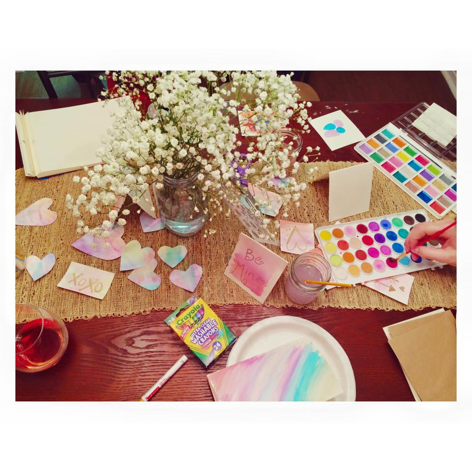 My sister and I host a galantine valentine crafting party every year. This year my wonderfully creative teacher of a sister had stations.. this was the beautiful watercolor station where I spent most of my time :)