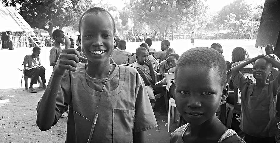 Kids in Leer, South Sudan, on the site where Gua Africa is building a new school.