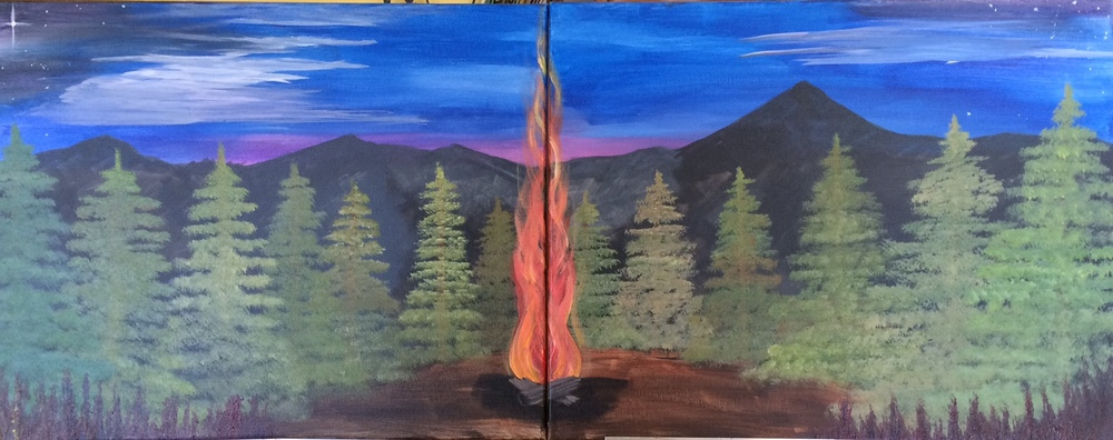 Campfire in the Mountains can be painted across one canvas or two! Contact us to reserve your space today.