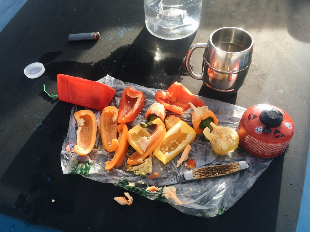 Peppers and coffee, a classic breakfast.