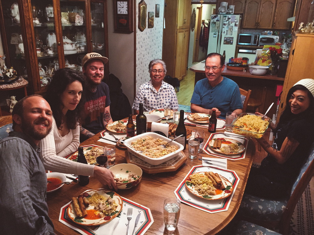 Family dinner. Left to right: Liam, Lisa, Garrett, Nina, Dwayne, Kristen. Sumas, Washington.