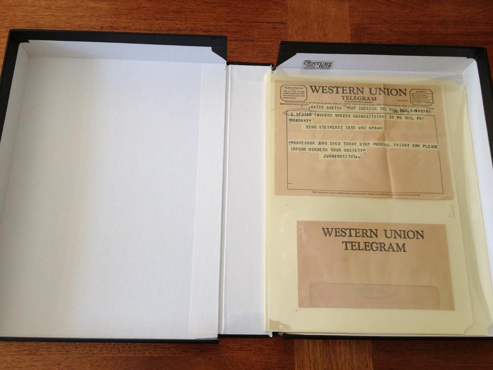 1961 telegram announcing Jung's death