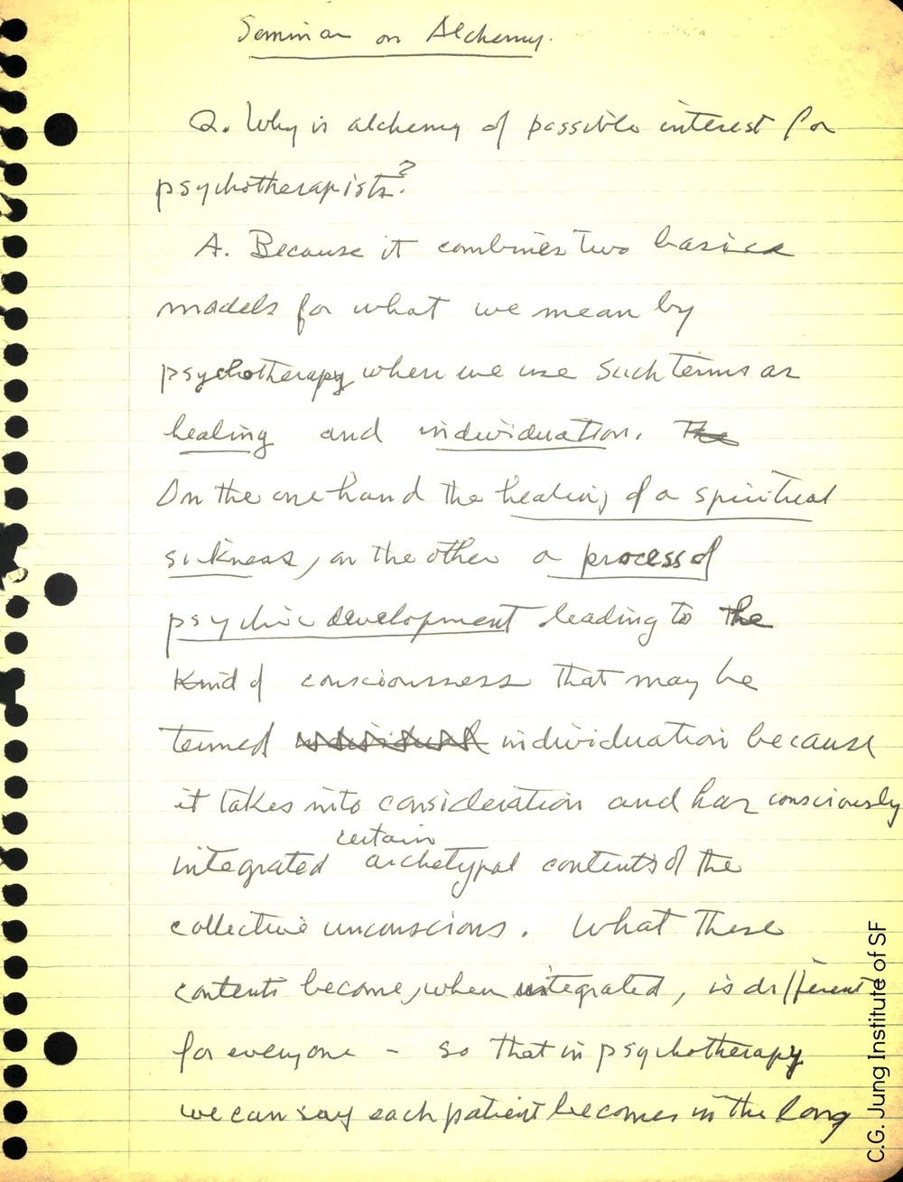 "Joe Henderson's notes on his ""Seminar on Alchemy"""