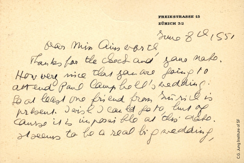 Letter from Toni Wolff to Mary Ainsworth (June 8, 1955)