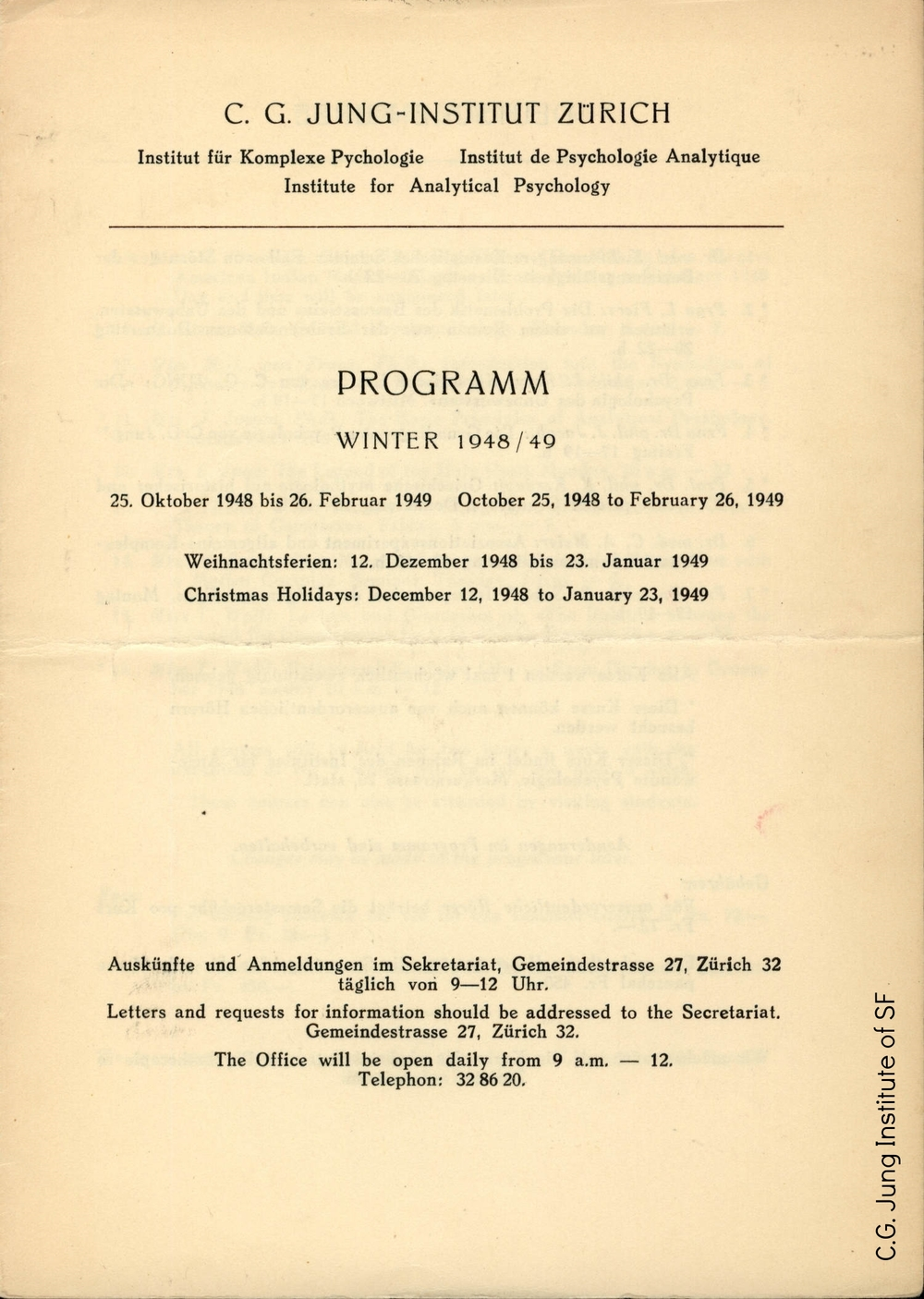 Program for the C.G. Jung Institut Zurich (Winter 1948-1949)