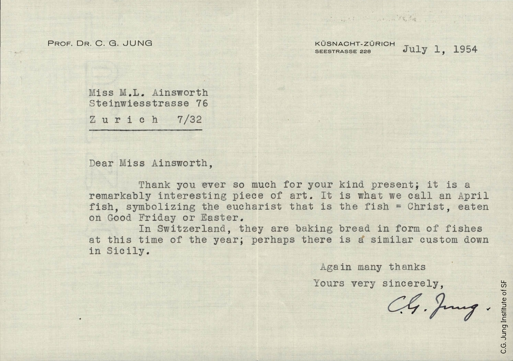 Letter from C.G. Jung to Mary Ainsworth (July 1, 1954)