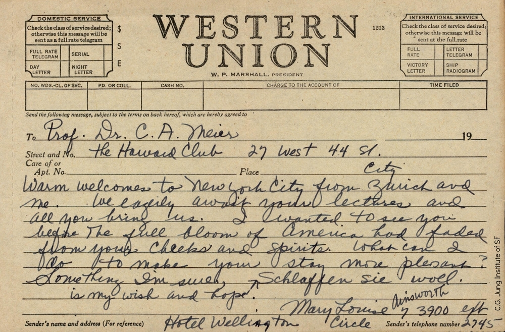 Western Union message from Mary Ainsworth to Carl Meier (undated)