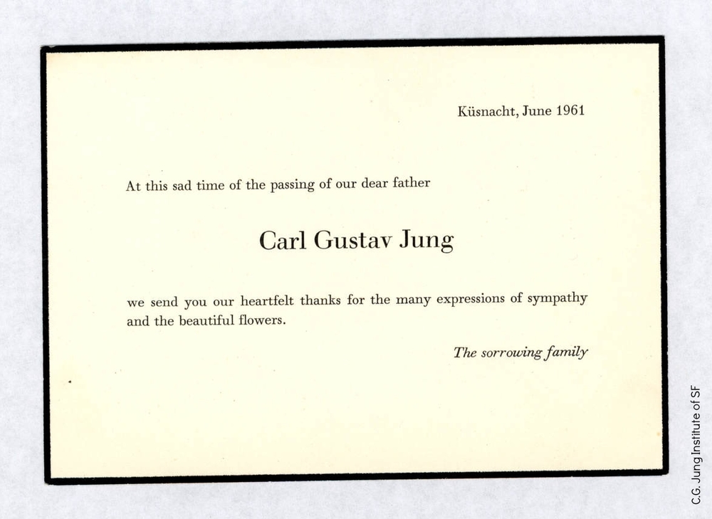 Family announcement of Jung's death (1961)