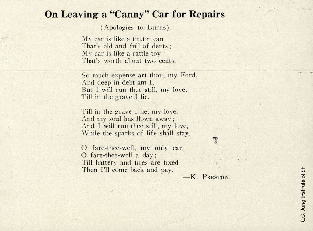 Poem by Katherine Preston (Bradway), undated.